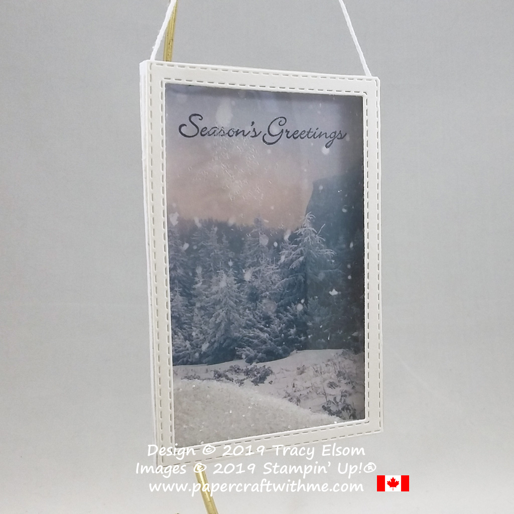 Mini winter scene shaker frame decor piece created using the Feels Like Frost paper and Ice Stampin' Glitter from Stampin' Up! #papercraftwithme