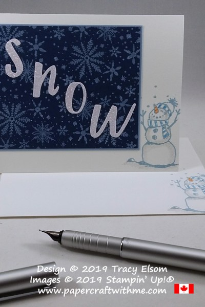 SNOW card created using the Snowman Season and Frosted Foliage Stamp Sets with Hand-Lettered Prose Dies, all from Stampin' Up! #papercraftwithme