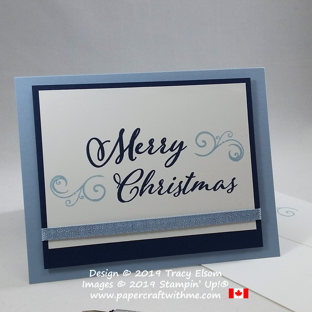 Simple blue Christmas card created using the Merry Christmas To All Stamp Set from Stampin' Up! #simplestamping #papercraftwithme