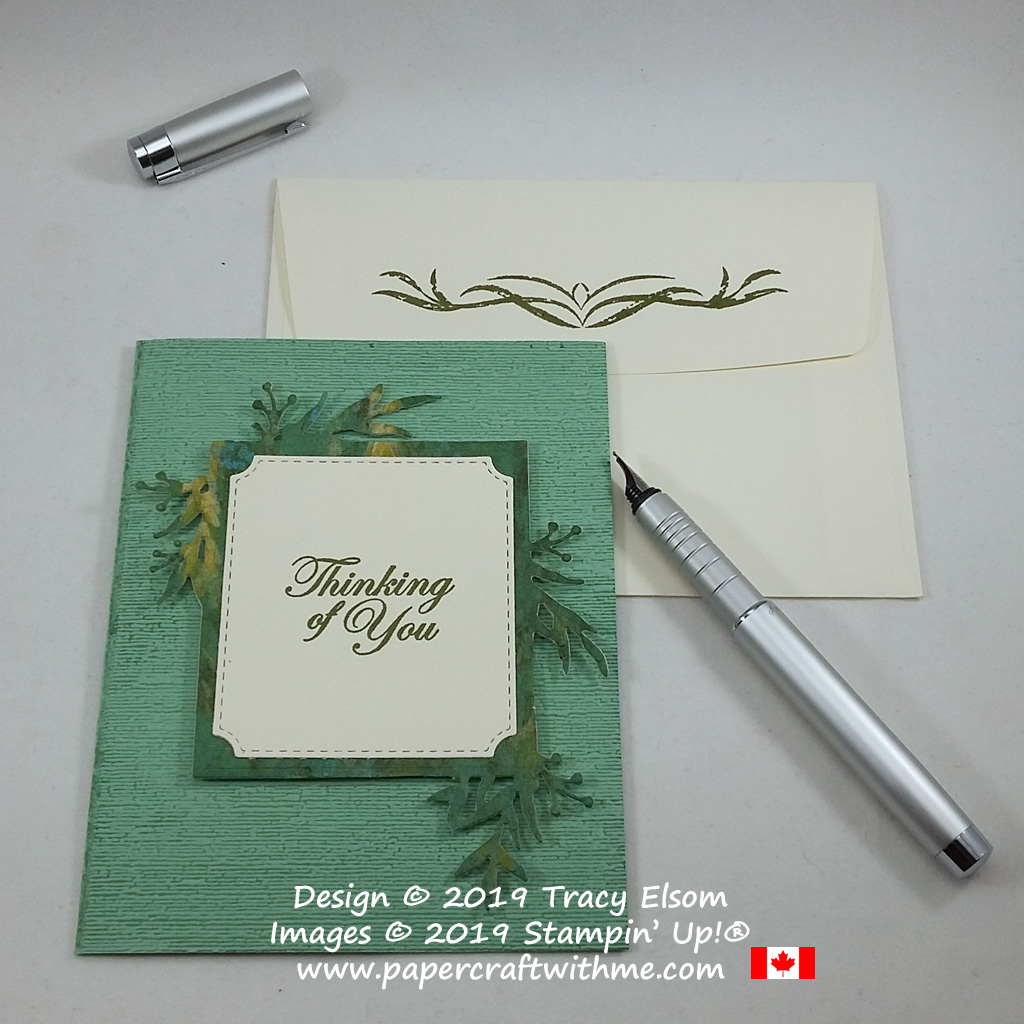"""Masculine / gender neutral """"Thinking of You"""" card created using the Frosted Frames Dies, Good Morning Magnolia Stamp Set and Subtle 3D Embossing Folder, all from Stampin' Up! #papercraftwithme"""