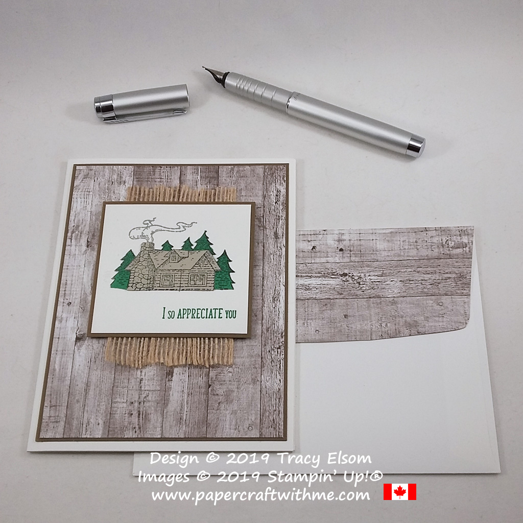 "Simple cabin scene with ""I so appreciate you"" sentiment from the Rustic Retreat Stamp Set from Stampin' Up! #papercraftwithme"