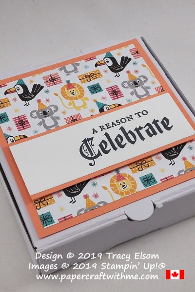 "For Boxing Day I decorated a Mini Pizza Box with ""A Reason To Celebrate"" sentiment from the Painted Glass Stamp Set and patterned paper from the Birthday Bonanza DSP pack, all from Stampin' Up! #papercraftwithme"