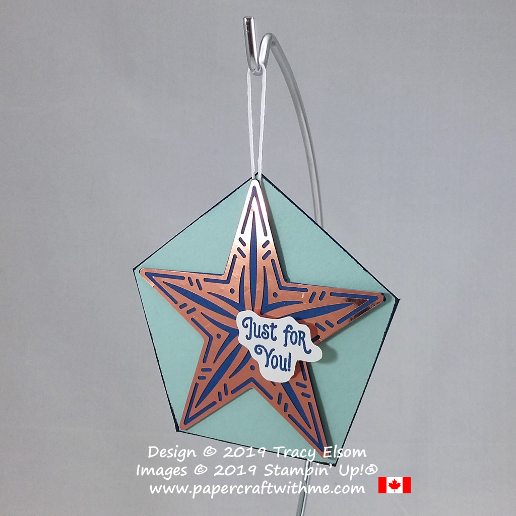 Gift tag with copper star created using the Brightly Gleaming Foil Elements and Elfie Stamp Set from Stampin' Up! #papercraftwithme