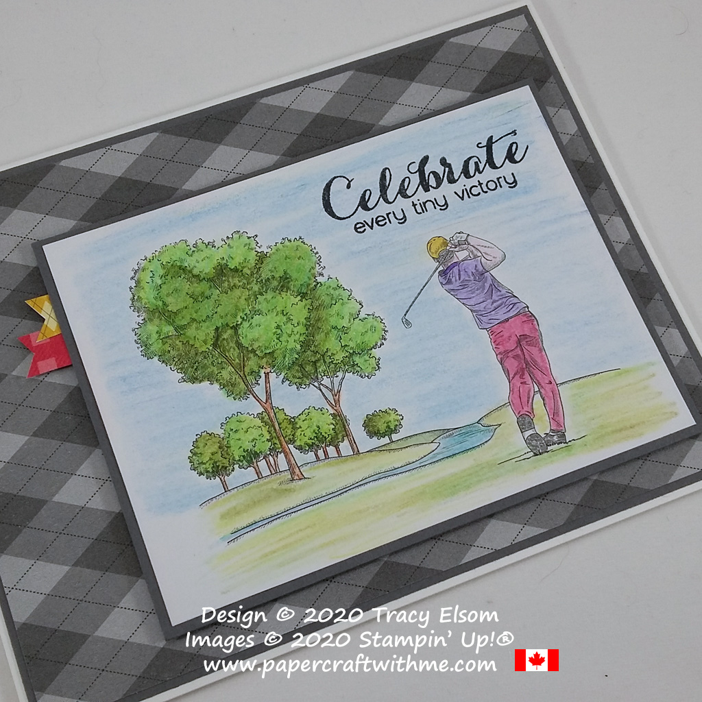 "For the golfer, this ""celebrate every tiny victory"" card features the Country Club DSP patterned paper and a sentiment from the Vibrant Vases Stamp Set from Stampin' Up! #papercraftwithme"