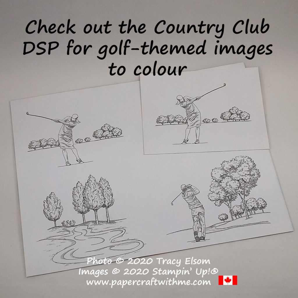 """Included as part of the Country Club Designer Series Paper (DSP) Pack you get two 12"""" x 12"""" sheets each containing twelve 3"""" x 4"""" golf-themed line art images. #papercraftwithme"""