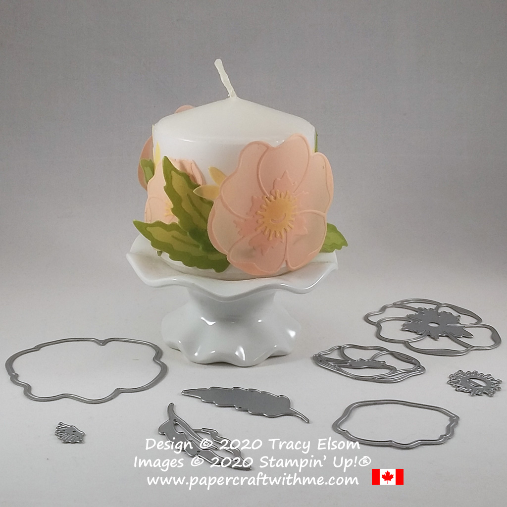 Vellum candle wrap with flowers created using the Poppy Moments Dies and Perennial Essence Vellum Cardstock from Stampin' Up! #papercraftwithme