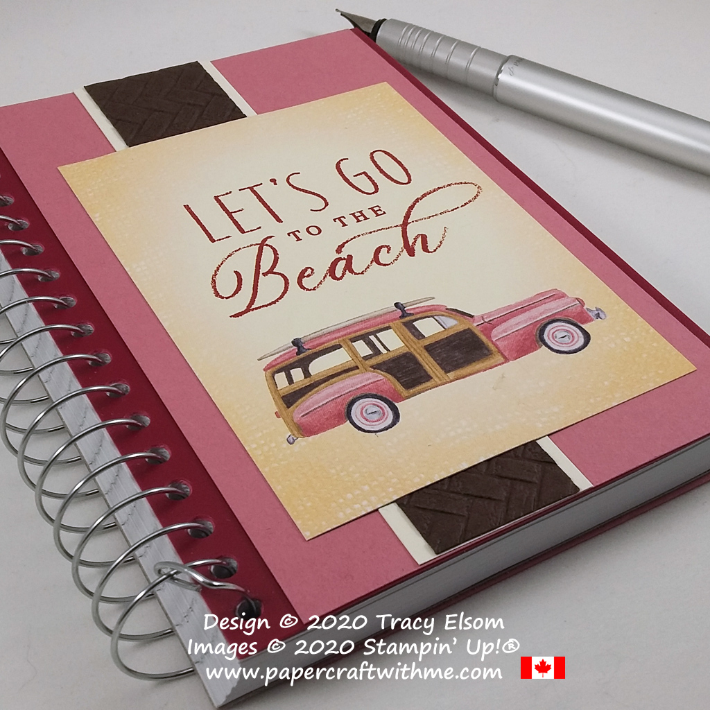 Vehicle expenses / mileage notebook created using the Tropical Oasis Memories & More Card Pack and Coastal Weave 3D Embossing Folder from Stampin' Up! #papercraftwithme