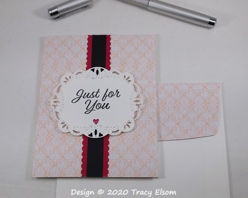 1925 Faux Stitched Just For You Card