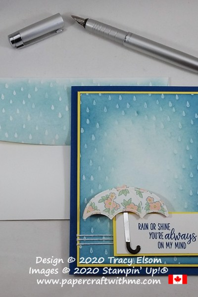"""Rain or shine you're always on my mind"" card created using the Under My Umbrella Stamp Set and coordinating Umbrella Builder Punch from Stampin' Up! #papercraftwithme"