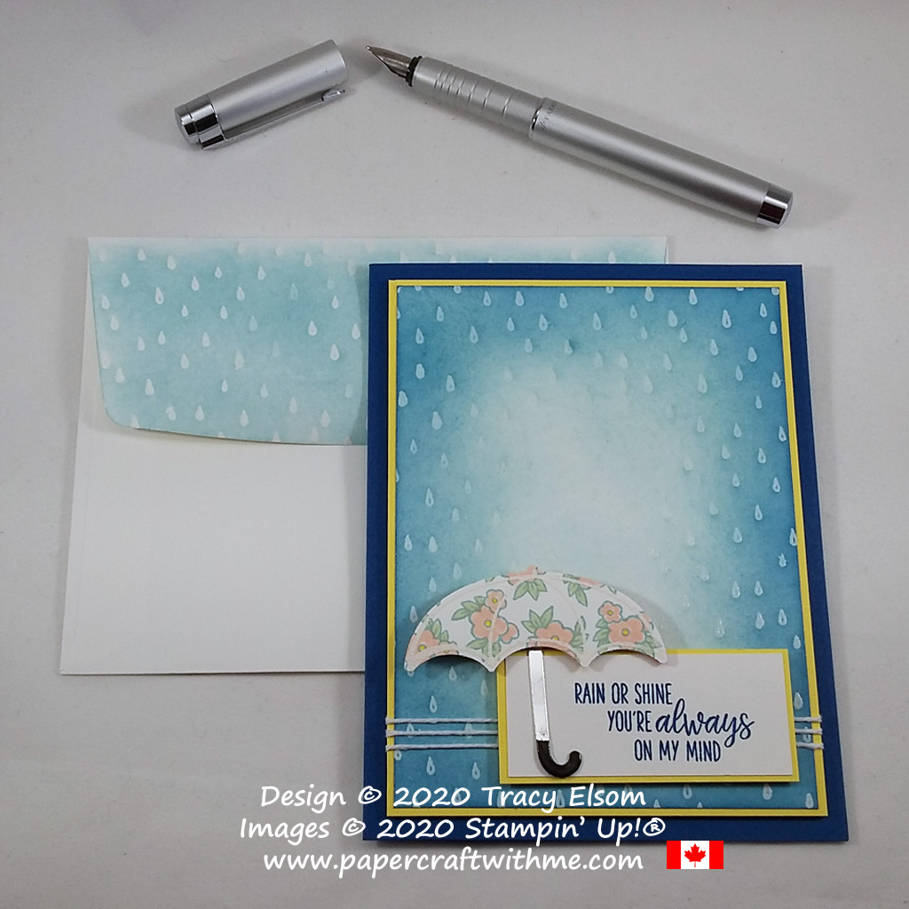 """""""Rain or shine you're always on my mind"""" card created using the Under My Umbrella Stamp Set and coordinating Umbrella Builder Punch from Stampin' Up! #papercraftwithme"""