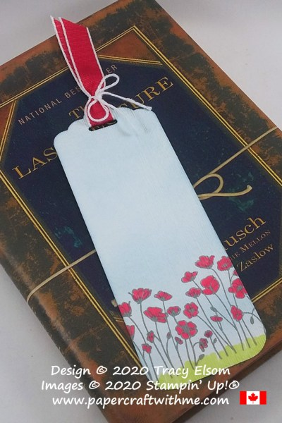 Textured poppy field bookmark created using the Painted Poppies Stamp Set and Subtle Embossing Folder from Stampin' Up! #papercraftwithme
