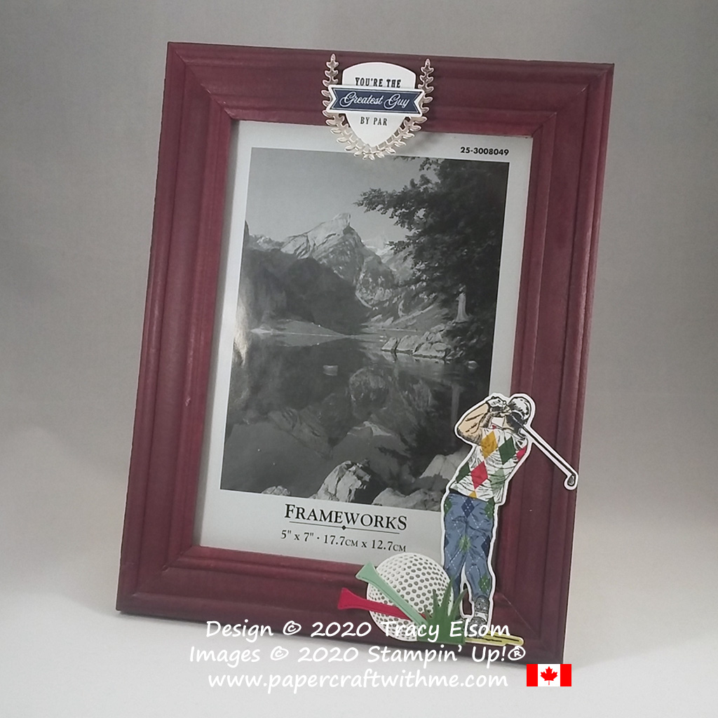 Golf-themed decoration on a picture frame created using the Clubhouse Stamp Set and Golf Club Dies from Stampin' Up! #papercraftwithme