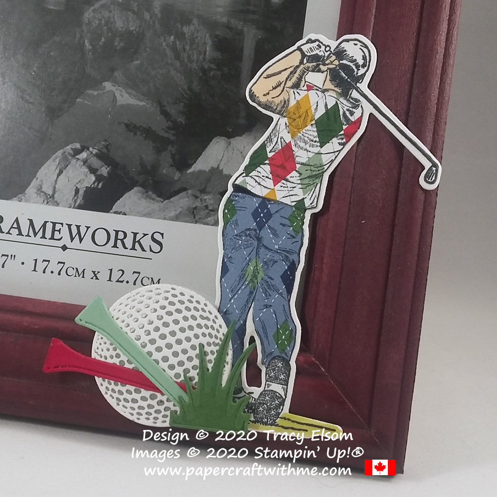 Golf themed decoration on a picture frame created using the Clubhouse Stamp Set and Golf Club Dies from Stampin' Up! #papercraftwithme