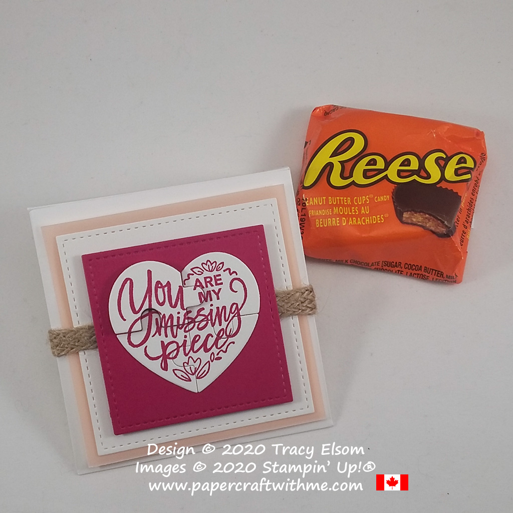 Simple treat package for a Reeses Peanut Butter Cup, created using the Love You To Pieces Stamp Set and Love You To Pieces Dies from Stampin' Up! #papercraftwithme