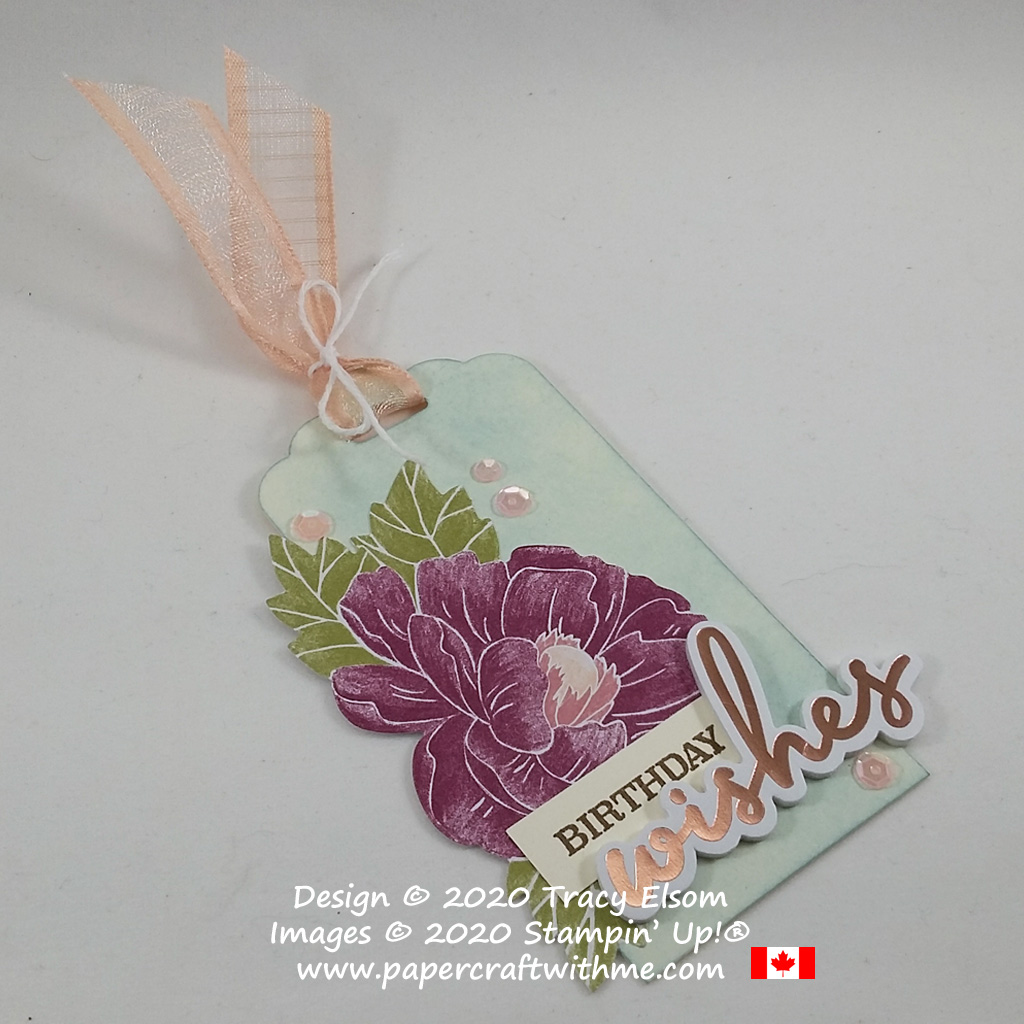 "Peony birthday wishes gift tag created using pieces from the February 2020 Paper Pumpkin kit ""Lovely Day"". #papercraftwithme"