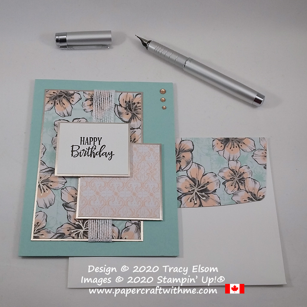 Pretty Parisian Blossoms paper and simple layers stepped up with foil sheets and a heat embossed birthday sentiment on this card created using the Peaceful Moments Stamp Set from Stampin' Up! #papercraftwithme