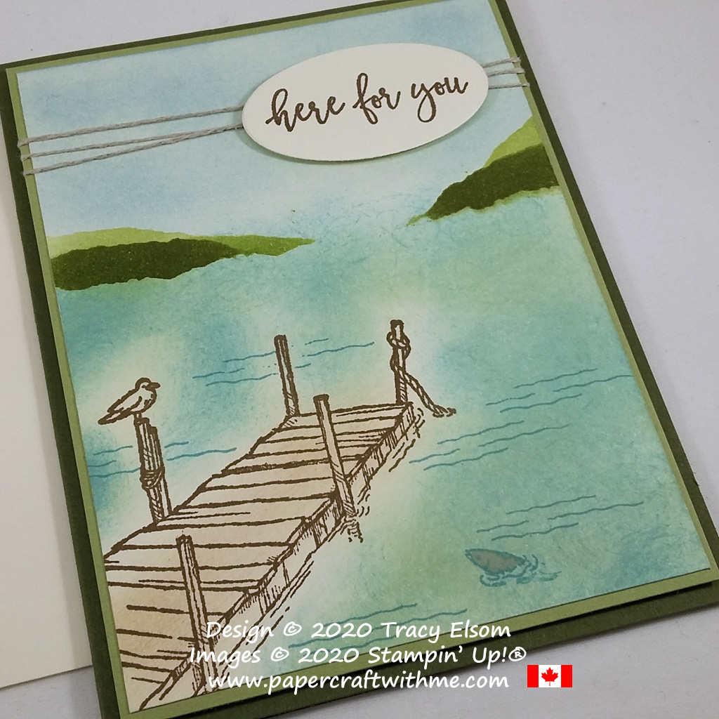 """Simple sponged water scene with """"Here For You"""" sentiment created using the By The Dock Stamp Set from Stampin' Up! #papercraftwithme"""