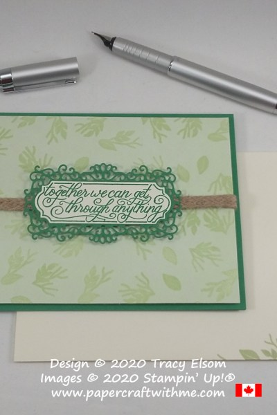 "Card with ""Together we can get through anything"" sentiment and heat embossed background created using the Perfectly Framed Stamp Set and coordinating Ornate Frames Dies from Stampin' Up! #papercraftwithme"