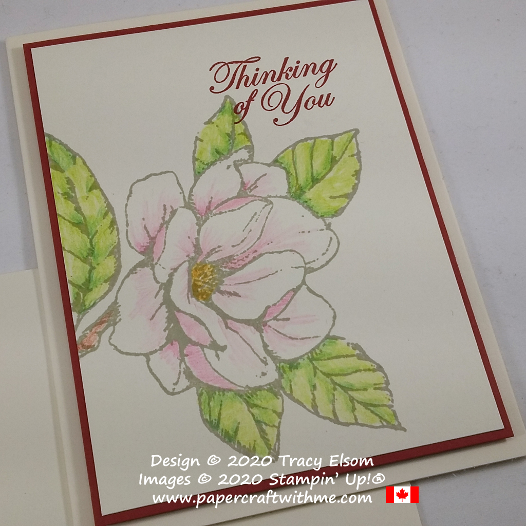 "Delicate ""Thinking of you"" card created using dry watercolour pencils and Good Morning Magnolia Stamp Set from Stampin' Up! #papercraftwithme"