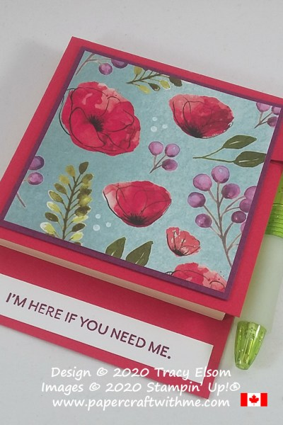 "3"" x 3"" PostIt Note® Holder decorated using the Peaceful Poppies DSP and ""I'm here if you need me"" sentiment from the Here's A Card Stamp Set from Stampin' Up! #papercraftwithme"