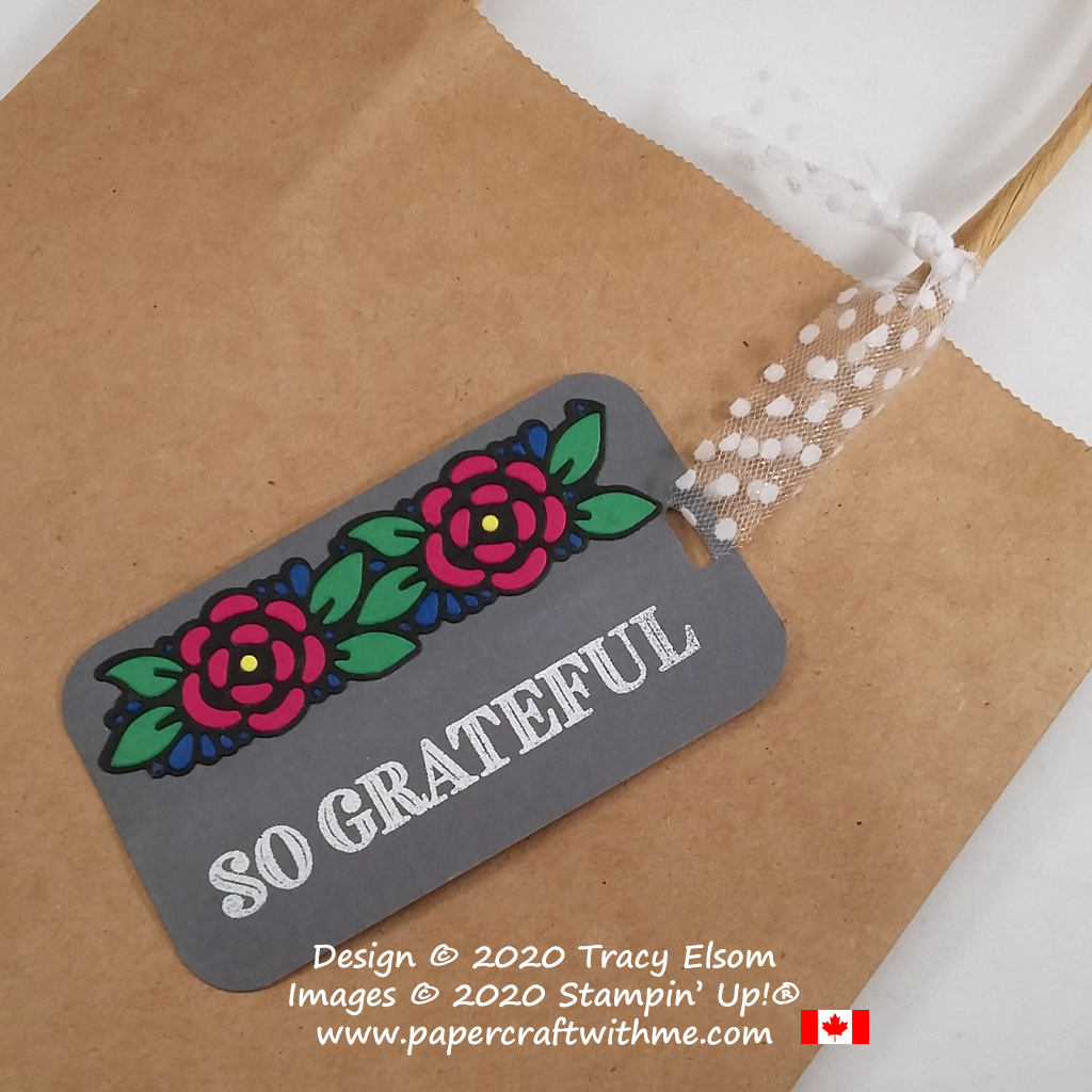 """So grateful"" gift tag with floral paper piecing design created using the Ornate Thanks Stamp Set and Ornate Borders Dies from Stampin' Up! #papercraftwithme"