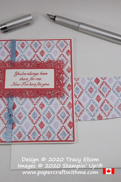 """""""You've always been there for me. Now I'm here for you"""" card created using the Fanciful Fragrance Stamp Set with Ornate Layers and Stitched Rectangles Dies from Stampin' Up! #papercraftwithme"""