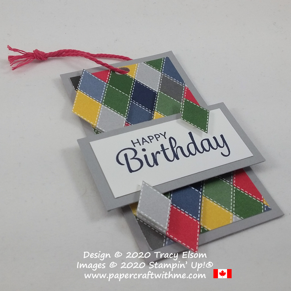 Masculine birthday gift tag with diamond pattern created using the Country Club Designer Series Paper and Here's A Card Stamp Set from Stampin' Up! #papercraftwithme
