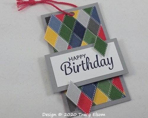 Diamond Pattern Birthday Gift Tag