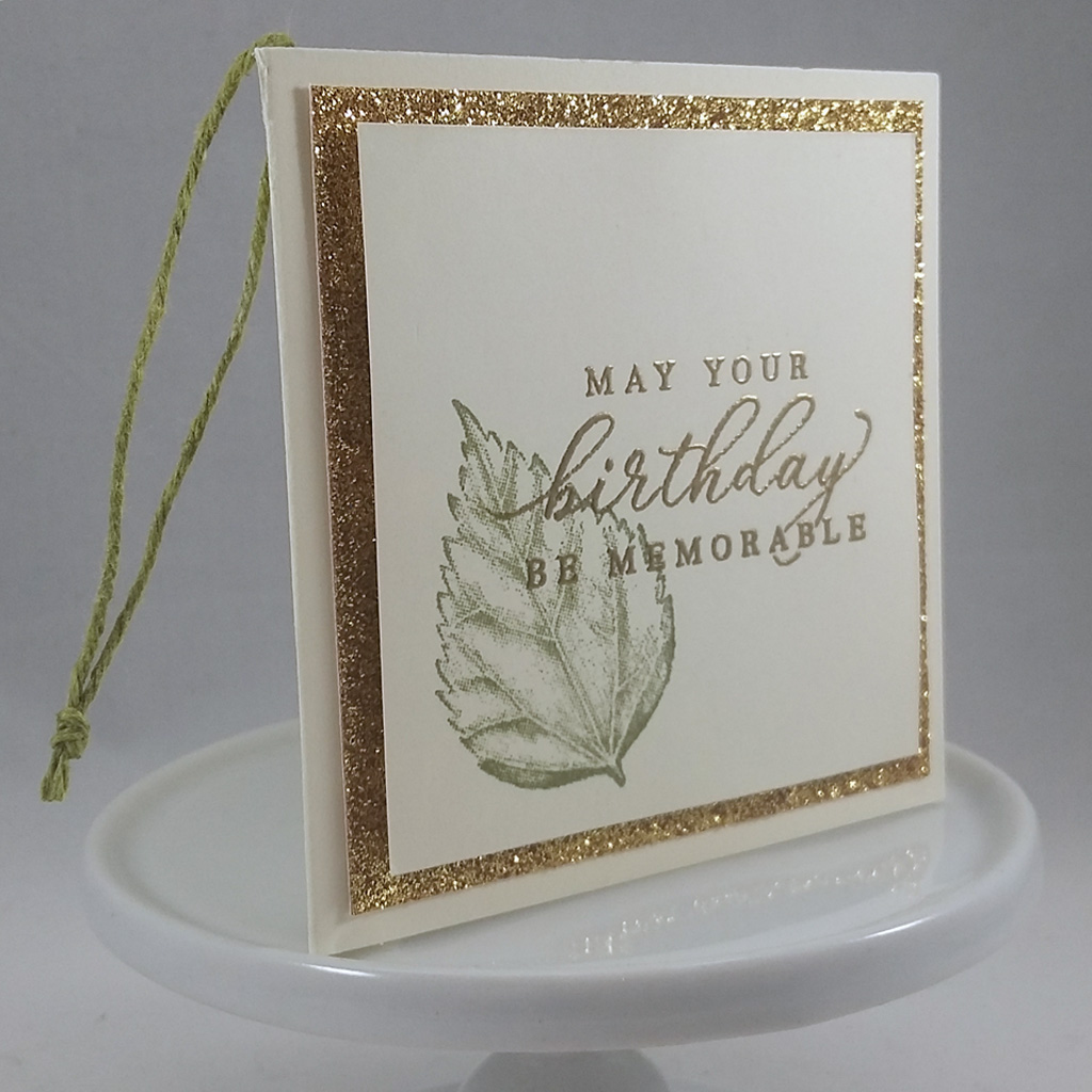 Create this elegant masculine/gender neutral gift tag with leaf image and gold birthday sentiment using the Timeless Tropical Stamp Set from Stampin' Up! #papercraftwithme