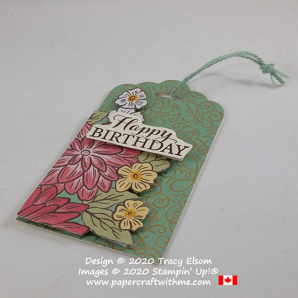 Pretty gift tag with fussy cut flowers created using the Ornate Garden Specialty Paper and Layered With Kindness Stamp Set from Stampin' Up! #papercraftwithme