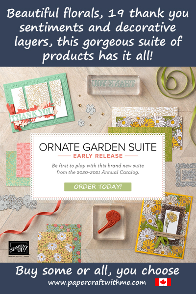 Bighten your day with the new Ornate Florals Suite.  Beautiful florals, ornate border and layer dies, 19 sentiments and more.