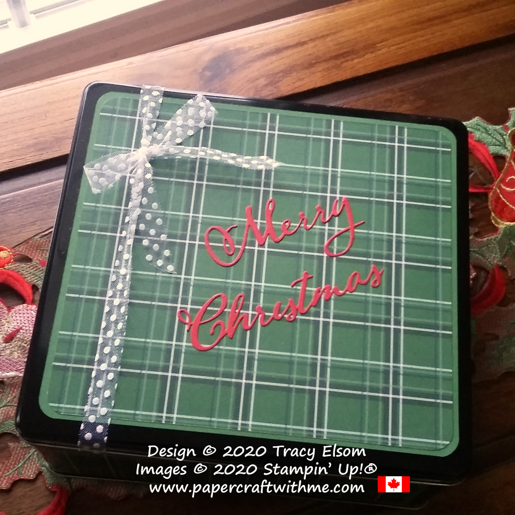An old biscuit tin turned into storage for Christmas using the Merry Christmas Dies and Country Club Paper from Stampin' Up! #papercraftwithme