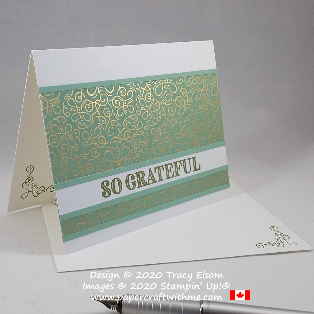 """#simplestamping card with """"So grateful"""" sentiment from the Ornate Thanks Stamp Set and gold foiled paper from the Ornate Garden DSP pack from Stampin' Up! #papercraftwithme"""