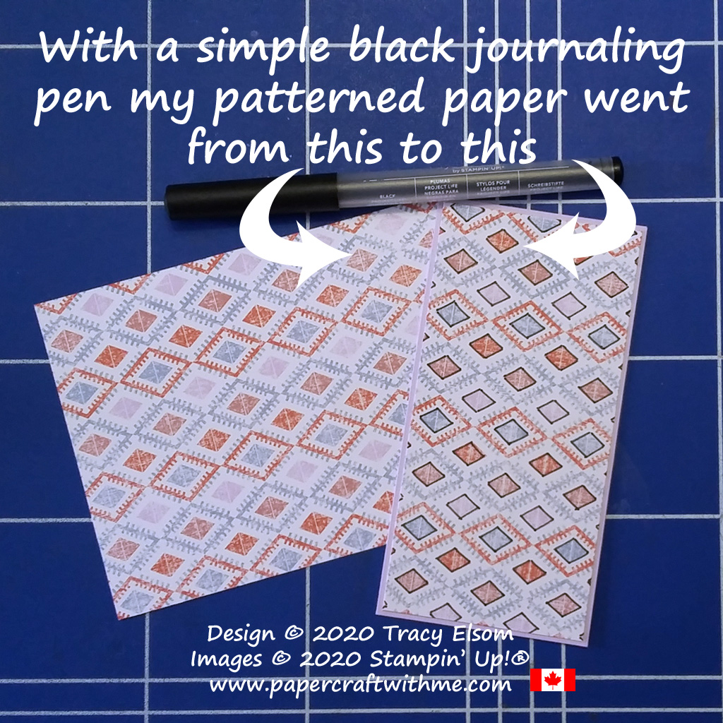 Get a very different look from your patterned paper using a simple black journaling pen. #papercraftwithme