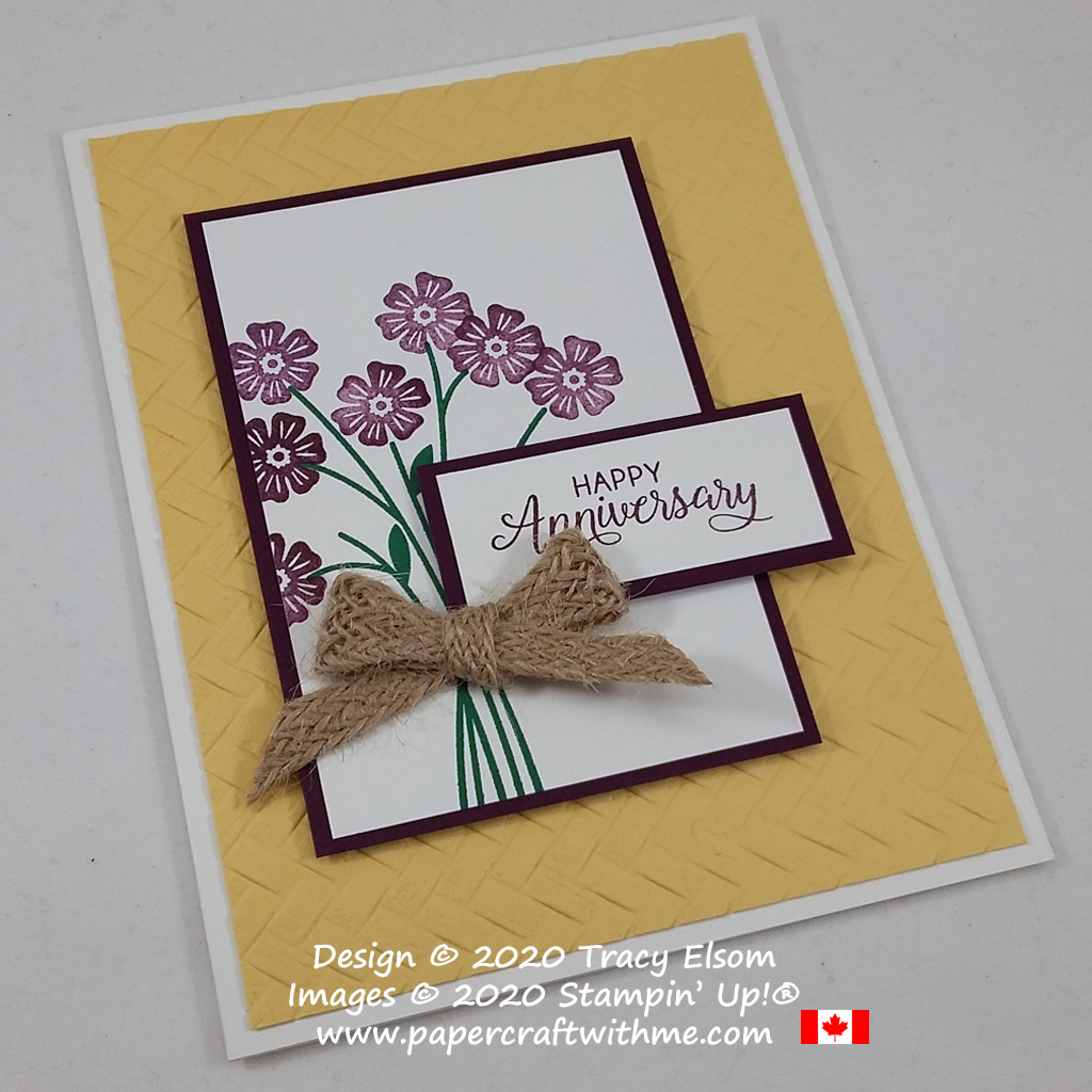 Anniversary card created using the Beautiful Bouquet Stamp Set and Coastal Weave 3D Embossing Folder from Stampin' Up! #papercraftwithme