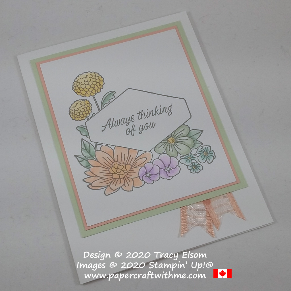 """Pastel floral """"thinking of you"""" card created using the Accented Blooms Stamp Set and Stampin' Blends alcohol markers from Stampin' Up! #papercraftwithme"""