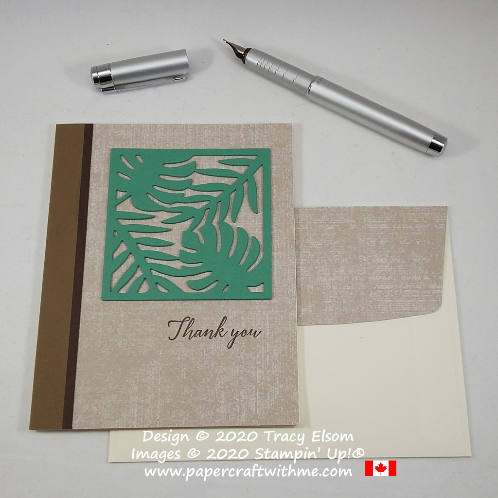 Showcasing Just Jade from the Stampin' Up! 2020-2022 In Colors on this thank you card created using the Tropical Chic Stamp Set and Tropical Dies. #papercraftwithme