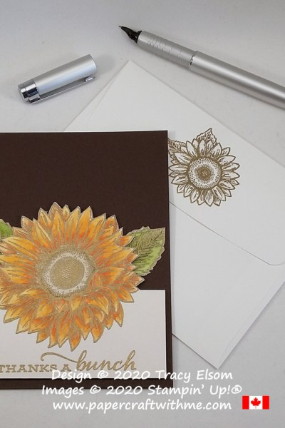 Thank you card created using gold embossing and Stampin' Write Markers with the Celebrate Sunflowers Stamp Set from Stampin' Up! #papercraftwithme