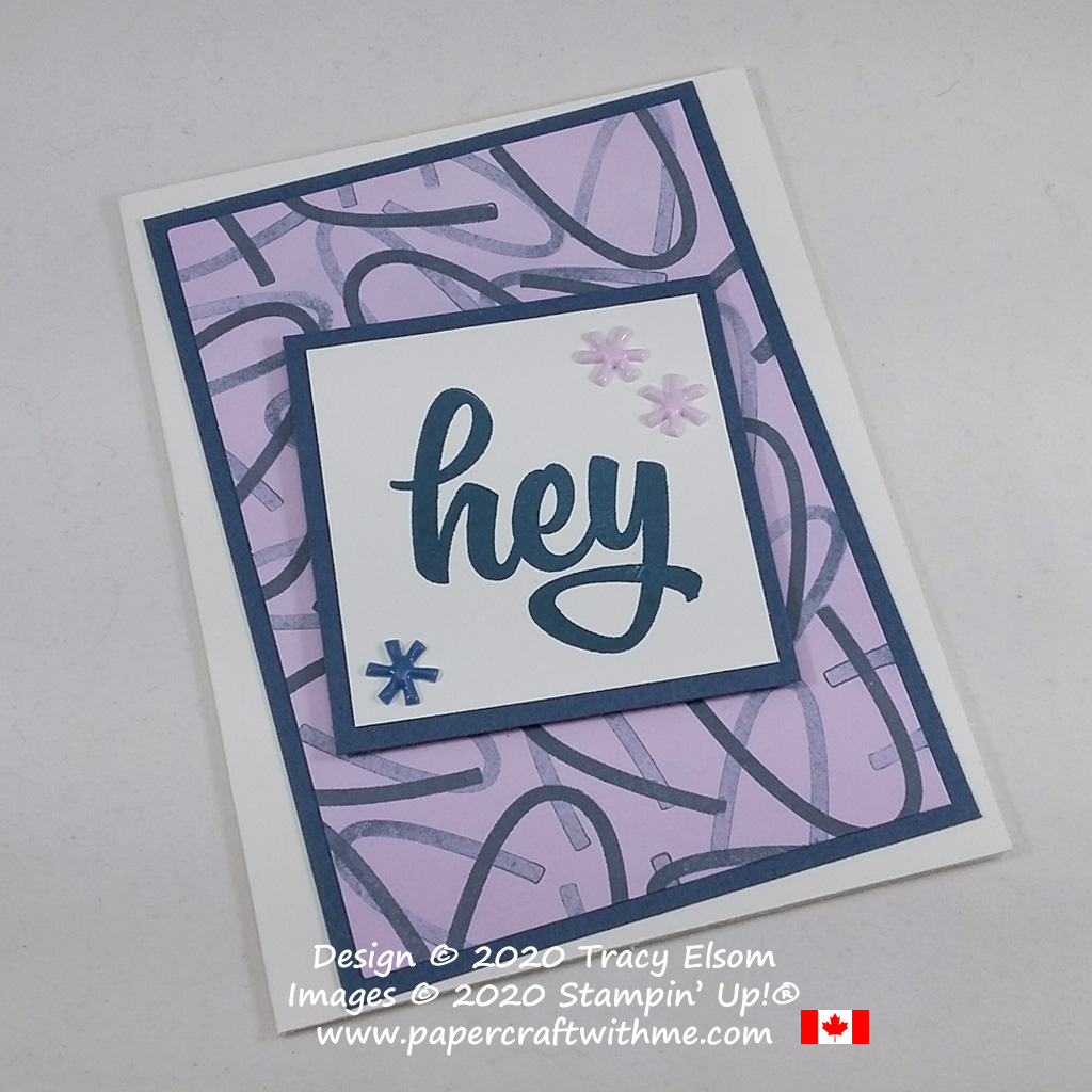 """Simple card with """"hey"""" sentiment and hand-stamped background created using the May 2020 Paper Pumpkin kit - A Kit In Color from Stampin' Up! #papercraftwithme"""