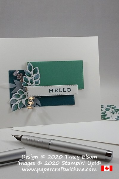 "Card with ""hello"" sentiment from the Forever Fern Stamp Set with leafy embellishments created using the Forever Greenery DSP and Forever Flourishing Dies from Stampin' Up! #papercraftwithme"