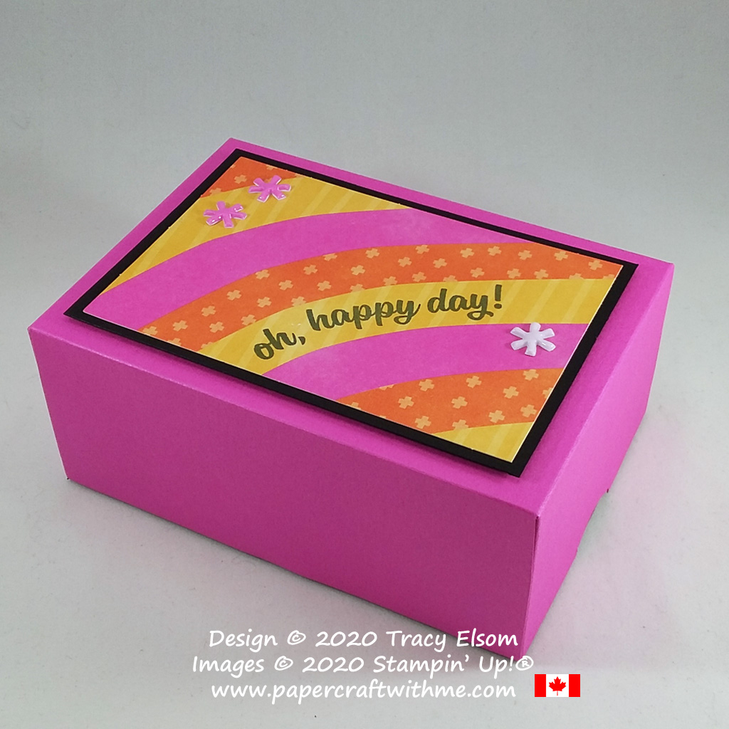 "3-1/2"" x 5"" x 2"" box with ""Oh, happy day"" sentiment created using parts from the May 2020 Paper Pumpkin kit - A Kit In Color from Stampin' Up! #papercraftwithme"