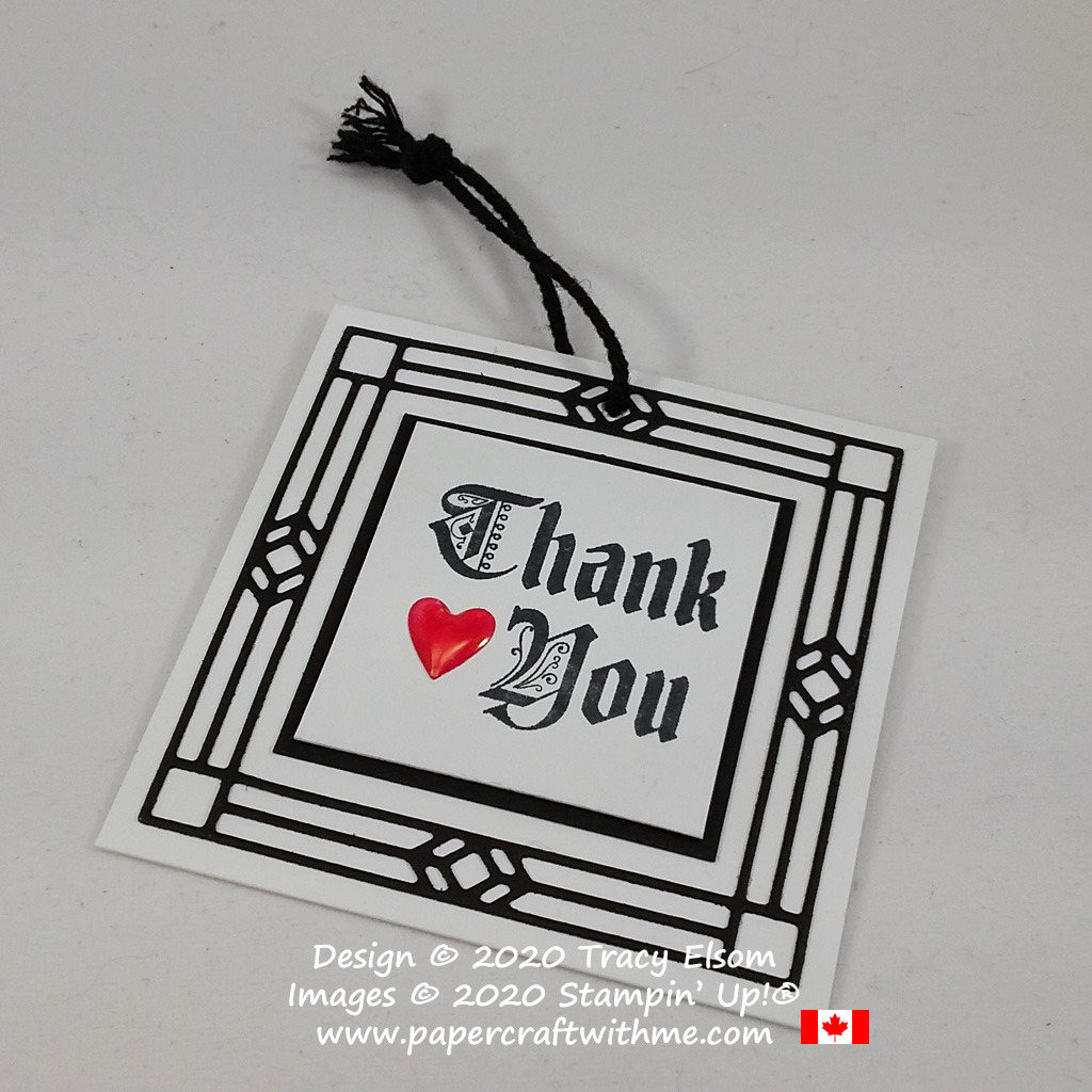 Gothic inspired thank you tag created using the Painted Glass Stamp Set and coordinating Stained Glass Dies from Stampin' Up! #papercraftwithme