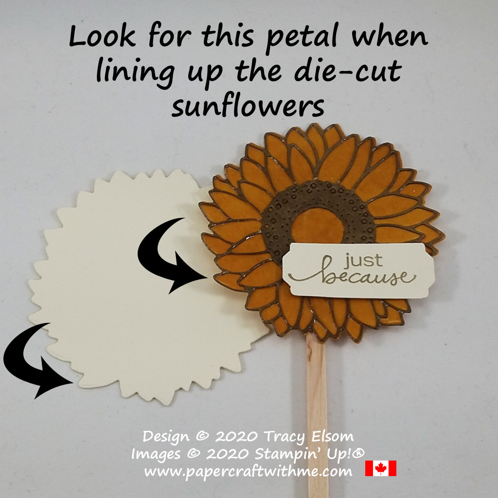How to line up the large die-cut sunflower pieces in the Sunflowers Dies from Stampin' Up! #papercraftwithme