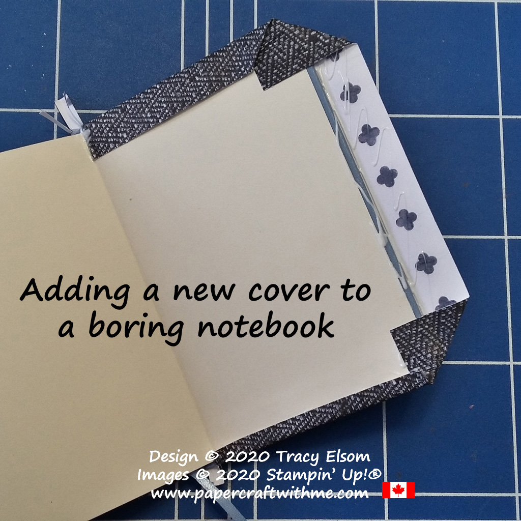 Transform a plain notebook by adding a faux textile cover using the In Good Taste Designer Series Paper from Stampin' Up! #papercraftwithme