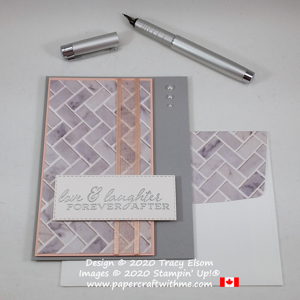 "Grey & pink wedding card with tile effect background and ""love & laughter forever after"" sentiment. Created using the In Good Taste DSP and Forever Fern Stamp Set from Stampin' Up! #apercraftwithme"