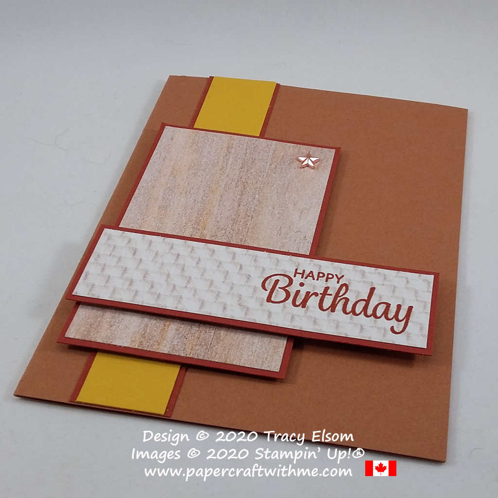 Adding texture to a simple masculine birthday card using the In Good Taste DSP paper and Here's A Card Stamp Set from Stampin' Up! #simplestamping #papercraftwithme