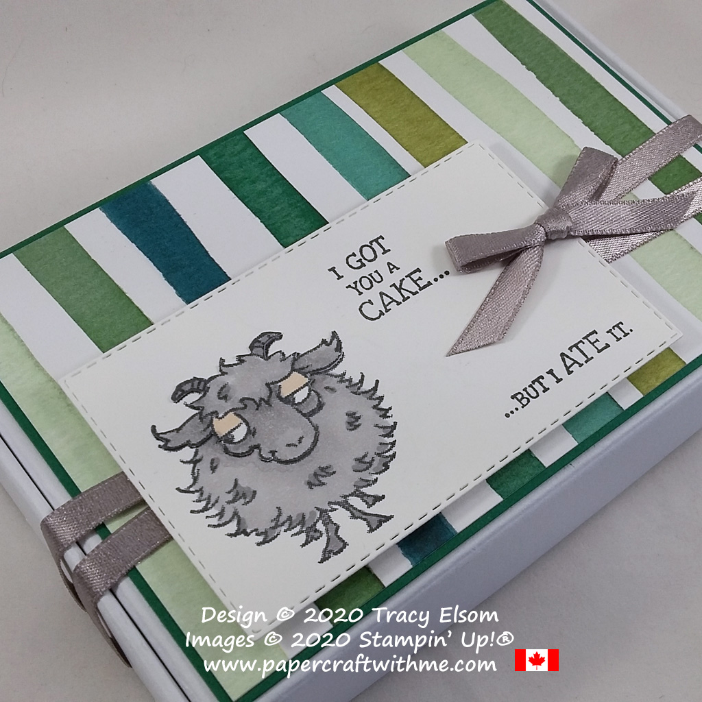 """Mini Paper Pumpkin Box with image and """"I got you a cake... ... but I ate it"""" sentiment from the Way To Goat Stamp Set from Stampin' Up! #papercraftwithme"""