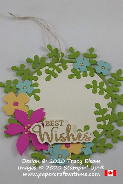 "Summer wreath tag with ""best wishes"" sentiment created using the Arrange A Wreath Stamp Set and coordinating Wreath Builder Dies from Stampin' Up! #papercraftwithme"