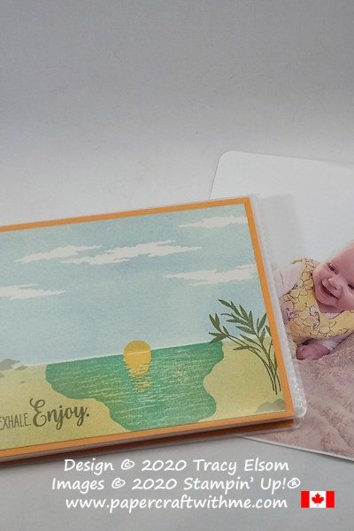 """""""Inhale. Exhale. Enjoy"""" 4"""" x 6"""" pocket photo album with cover created using the Sending Sunshine Stamp Set from Stampin' Up! #papercraftwithme"""