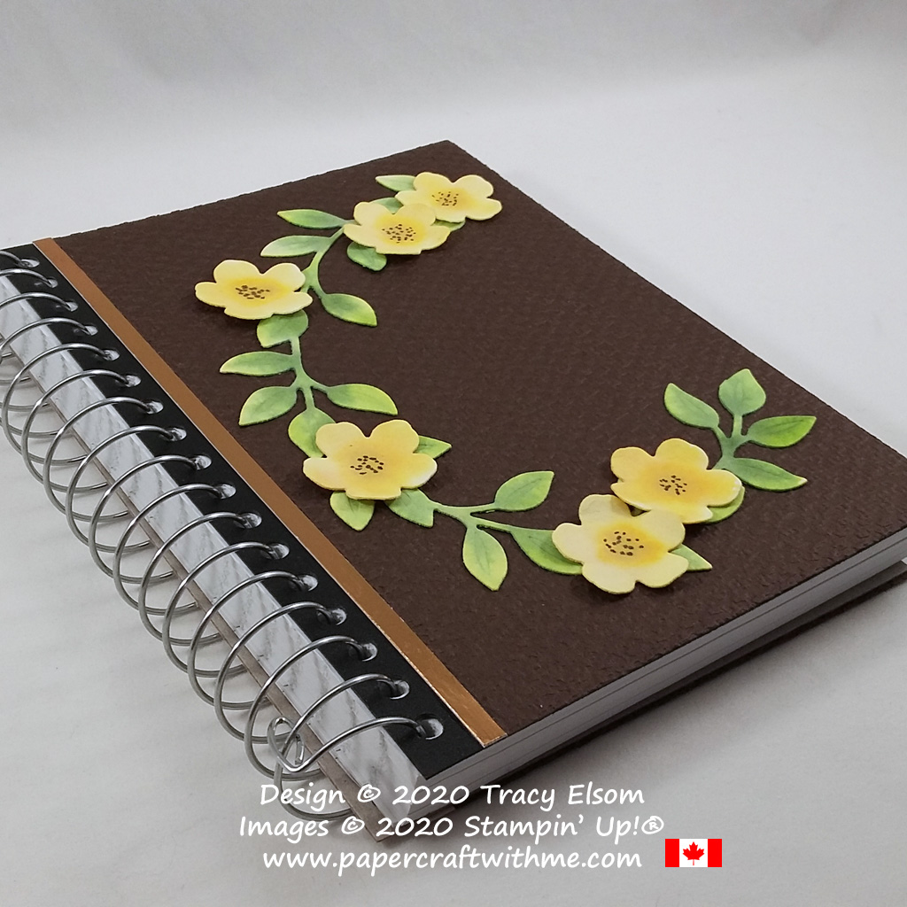 Altered notebook with flower & leaf design created using Fluid 100 Watercolor Paper and the Wreath Builder Dies from Stampin' Up! #papercraftwithme